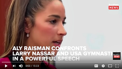 Aly Raisman confronts Larry Nassar and USA Gymnastics. (photo: BuzzFeed News)