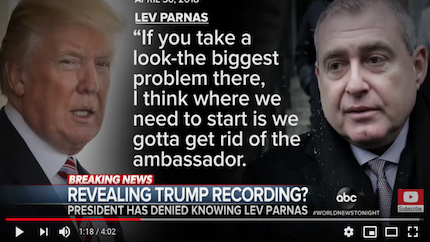 President Donald Trump is apparently heard in an April 2018 recording telling associates that he wants US ambassador to Ukraine Marie Yovanovitch fired. (photo: ABC News)