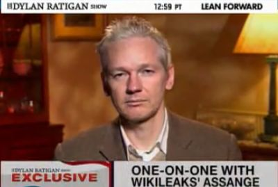 Julian Assange, founder and editor-in-chief of WikiLeaks, 12/22/10. (video image: MSNBC)