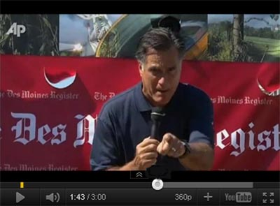 Mitt Romney declared 'Corporations are people, my friend!' at the at the Iowa State Fair. (image: AP)