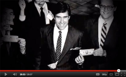 Mitt Romney whoops it up with his Bain Capital partners in this outtake from the pro-Gingrich campaign ad 'When Mitt Romney Came to Town.' (photo: Bain Capital)
