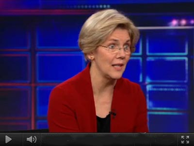 Elizabeth Warren on The Daily Show With Jon Stewart, 01/24/11. (image: Comeday Central)