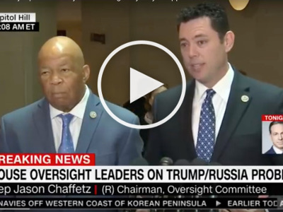 Representatives Jason Chaffetz (R-UT) and Elijah Cummings (D-MD) held a press conference on Tuesday to knock the Trump administration for denying their requests for documents related to former National Security Adviser Michael Flynn.  (photo: Politics Video Channel)
